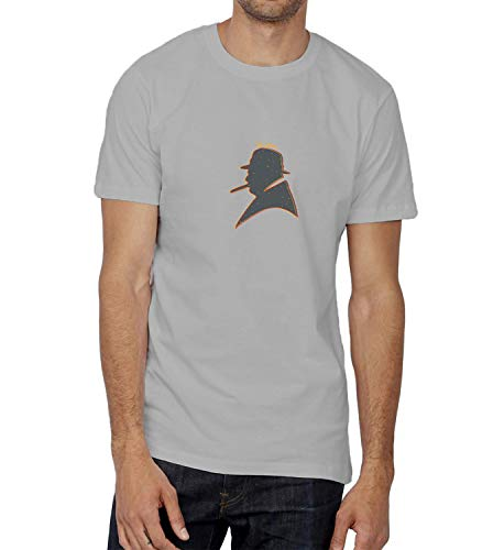 Winston Churchill Face Hat Cigare_005552 T-Shirt Birthday Ugly Christmas Shirt Gift for Him SM Man Grey (Shitty Gifts Christmas)