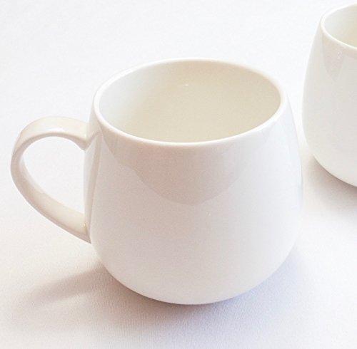 Winnsoma Duet Porcelain Mugs Set of 2 High Grade Elegant Pure White Porcelain For Coffee Latte Milk (Large China Coffee Mug)