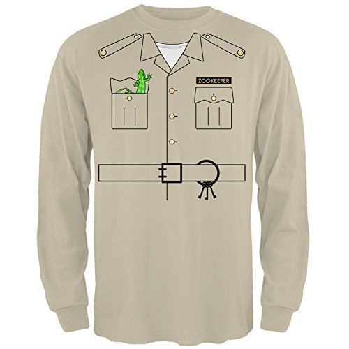 Halloween Zookeeper Costume Mens Long Sleeve T Shirt Sand (Zoo Keeper Costume Men)