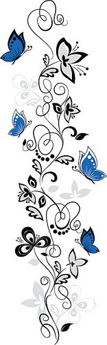 Blue Butterflies and Hanging Vines Wall Sticker Decal Size: 30inchx10inch (HxW)