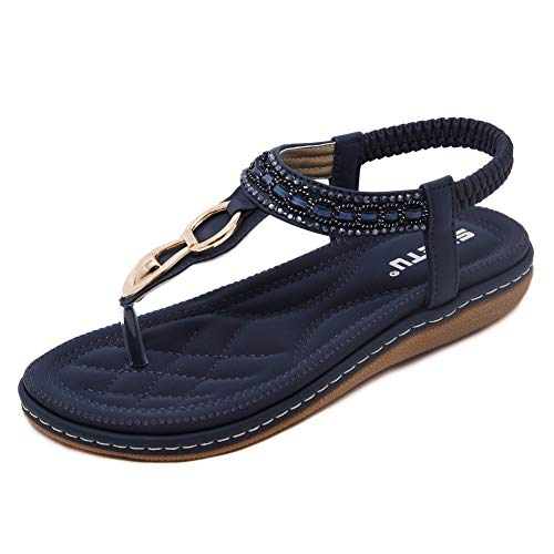 (SHIBEVER Summer Flat Gladiator Sandals for Women Comfortable Casual Beach Shoes Platform Bohemian Beaded Flip Flops Sandals Navy Blue-4)