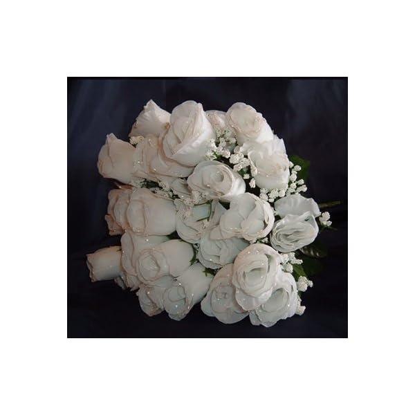 IGC 84 White Silk Rose Flowers w/Raindrops – Wedding Flowers- Bridal/Floral – Centerpiece Flower Arrangement Supplies- Bridal Bouquet Roses