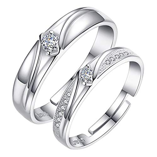 1 X Pair Impression Collection Inlaid Zircon Diamond Rings Wedding Engagement Ring Pair Rings For Him And Her