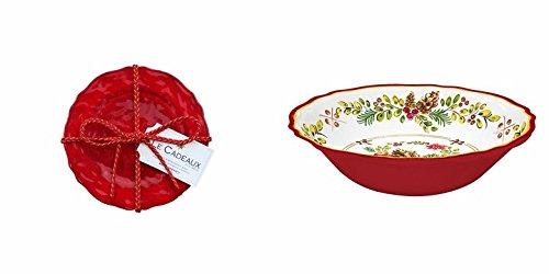- La Cadeaux Garnet 4 Pk. Appetizer Plates and Noel Salad Bowl Set