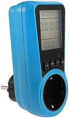 Galapara De Energ/ía Socket Pantalla LCD Uso de Electricidad Medidor de Energ/ía Socket Energ/ía Vatio Voltios Amperios Vataje KWH Analizador de Consumo Salida del Monitor AC230V ~ 250V Enchufe