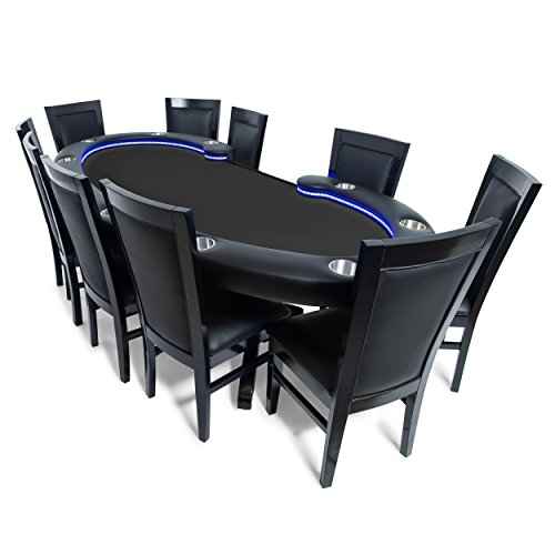 BBO Poker Lumen HD Lighted Poker Table for 10 Players with Black Felt Playing Surface, 101.5 x 46-Inch Oval, Includes 10 Dining Chairs by BBO Poker