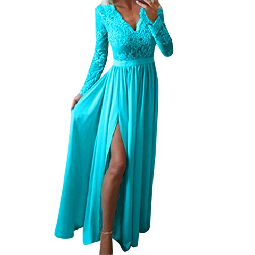 (Dress for Women Elegant for Party Wedding,Lace Solid Half Sleeve Long Dresses Cocktail Club Prom Gown Tunic)
