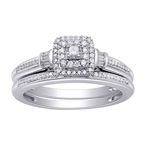 Jewelili 10kt White Gold 1/4cttw Princess, Baguette and Round Diamond Bridal Ring, Size 7 ()