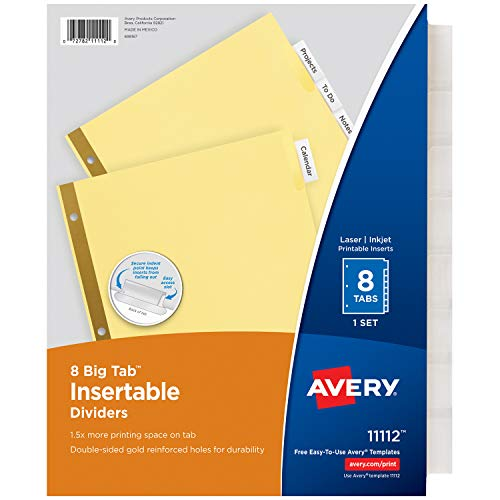 Avery 8-Tab Binder Dividers, Insertable Clear Big Tabs, 1 Set (11112) ()
