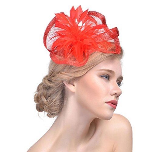 per Royal ~ clip Party chiesa cocktail con 2 ~ Tea cappello Girls 1 fascia mesh Womens capelli lovely matrimonio con Mounter nastri Red per Ascot White donna qUw8Hwp