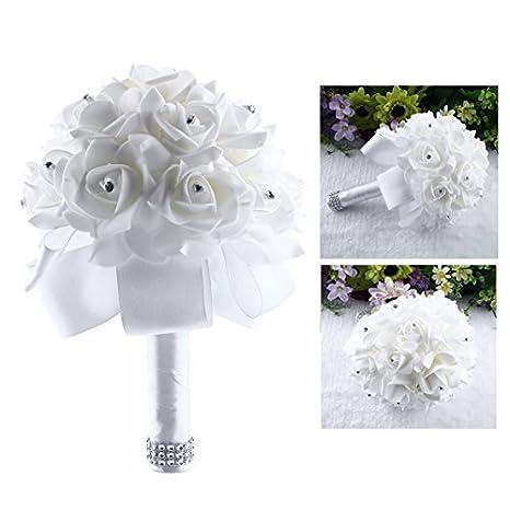 Immagini Di Bouquet Da Sposa.Itian Bouquet Da Sposa Di Fiori Artificial Rose Fiori Da Sposa Decor Bianco