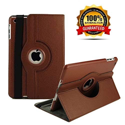 """New iPad 2017 9.7"""" / iPad Air 2 Leather Case,360 Degree Rotating Stand Smart Cover with Auto Sleep Wake for Apple iPad Air or New iPad 9.7 Inch 2017 Tablet (Brown)"""