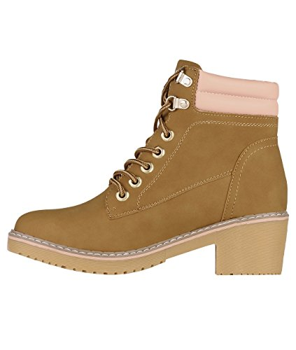 Womens Fashion Lace Up Fleece Work Ankle Boots Pumps Camel (5483) GzfJnS
