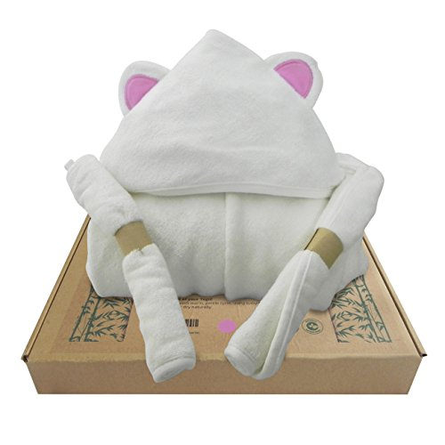 Hooded Baby Towel   Washcloth Set  The Original Yogii  Pink Ear    Luxury 3 Piece Bath Set   100  Bamboo   500Gsm   For Infant  Toddler  And Newborn Kids   For Boys And Girls At The Beach Or Pool