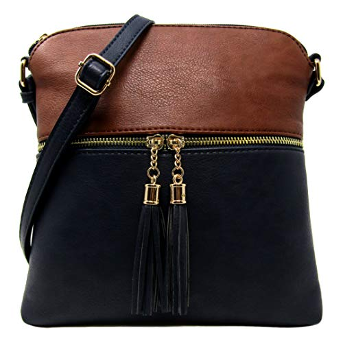 Organize Purse Capacity Deep Medium Bag Leather Women's Rich Faux Large Weight Adjustable Crossbody and Strap Shoulder Light Coffee with Sea Uvxw7RvPq