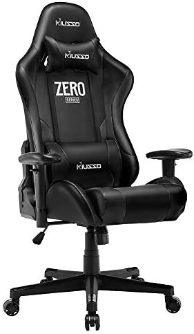 Musso Ergonomic Black Gaming Chair Adjustable Esports Gamer Chair, Adults Racing Video Game Chair, Large Size PU Leather High-Back Executive Office Chair