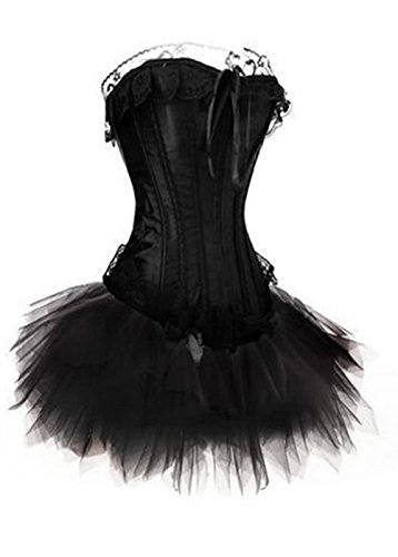 Schwarz Kostüm Trim Petticoat Vintage Mini Rock Korsett Corsage Tutu