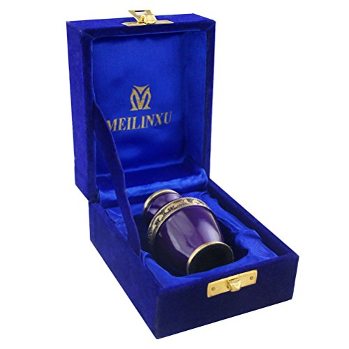 Keepsake Funeral Urn by Meilinxu- Mini Cremation Urn for Human Ashes Adult - Brass Hand Engraved - Fits a Small Amount of Cremated Remains- Display Burial Urn at Home or Office (Elsene Purple Baby