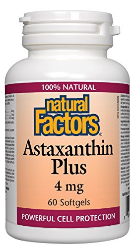 Gel 4mg 60 - Natural Factors - Astaxanthin Plus 4mg, Promotes Powerful Cell Protection, 60 Soft Gels