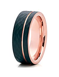Silly Kings 8mm Brushed Black Tungsten Carbide Wedding Ring Hammered Design Rose Gold Groove Inlay Mens Band