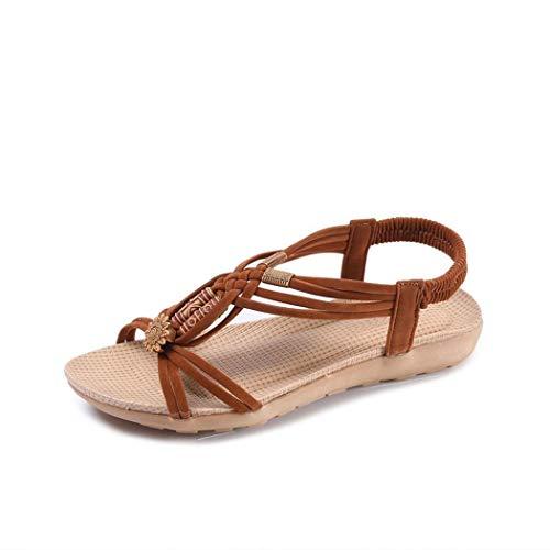 Weardear Women Casual Beads Flat Sandals Summer Beach Shoes Footwear Flats Brown