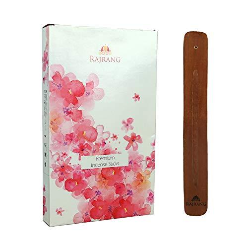 RAJRANG Premium Natural Fragrance Incense Sticks - Set of 10 Flavors with Holder - Nag Champa, Oudh, Favorite, Rose, Sandalwood, Lavender, Frank Frankincense, Lemongrass, Citronella, Saffron