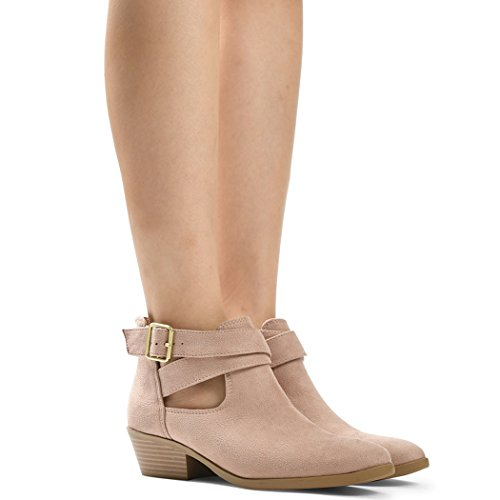 Ankle Low Chunky Womens Heels Boots Out Jen Back Cross Buckle Casua Cut Bootie Mauve Strap by LUSTHAVE Stacked Heel Zipper wtvIdggq
