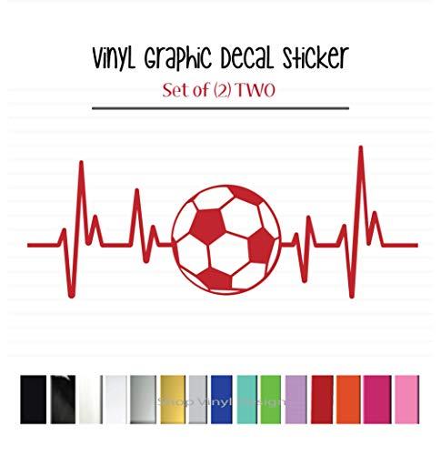 ((2) TWO Heartbeat Soccer Decal Sticker Vehicle Car Truck Window Wall Laptop Wall Cooler)