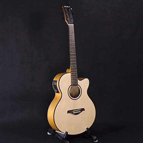 ERCZYO 40 pulgadas caja de la guitarra eléctrica Spruce Nanyang madera guitarra balada cinco secciones de la guitarra acústica de gama media EQ ERCZYO (Color : Wood color-40 inches)