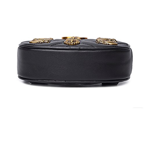 Fashion Bag Purse Chest PU Black Bag Pockets Mini Female Mobile Oval Velvet rRFw1rq