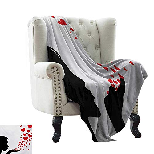 (BelleAckerman Flannel Blanket Kiss,Pretty Girl Black Silhouette Blowing Red Hearts Romance Love Valentines Day Theme,Black White Red Throw Blanket for Ultimate Comfort 30