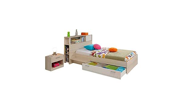 Función cama 90 * 200 gris con cabecero (estante) anstell ...