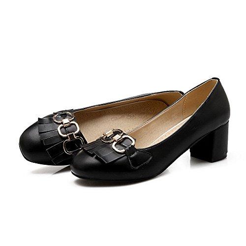 VogueZone009 Damen Rein Ziehen auf Blend-Materialien Rund Zehe Pumps Schuhe Schwarz
