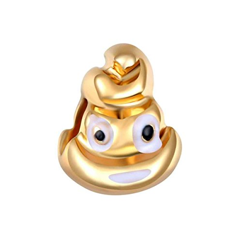 Bling Stars Gold Plated Poop Emoji Smiley Emoticon Beads for Snake Chain Bracelets ()