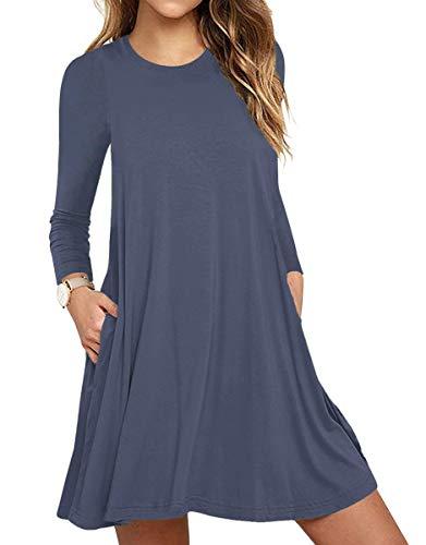 WEACZZY Women's Long Sleeve Pockets Casual Swing T-Shirt Dresses Purple Gray, Large