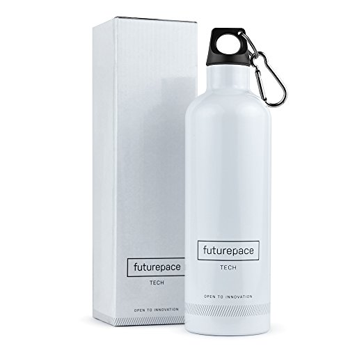 Futurepace Tech WHITE STAINLESS STEEL THERMOS WATER BOTTLE 20oz BPA FREE by FREE GIFT BOX - MEGA SAVINGS over PLASTIC! Perfect for SUMMER Outside BEACH Garden and (Super Cool Water)