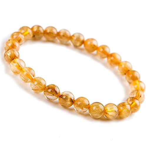 - 8mm Natural Yellow Rutilated Quartz Crystal Stretch Round Bead Bracelet