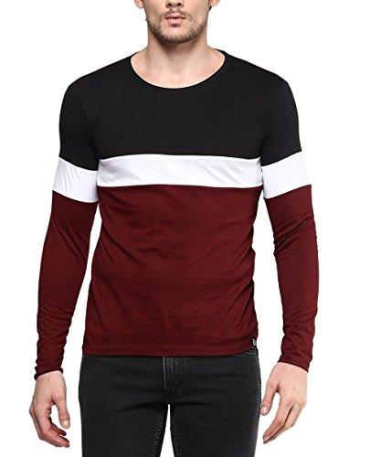Urbano Fashion Men #39;s Black, White, Maroon Round Neck Full Sleeve T Shirt