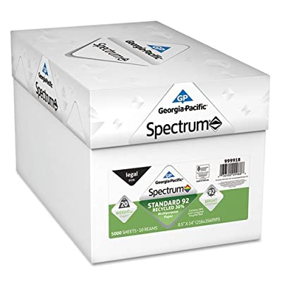 Spectrum Recycled Multi-Use Paper, 92 Bright, 20lb, 8 1/2 x 14, White, 5000 Shts, Sold as 10 Ream