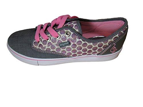 Baby Phat Womans Polka-dot Porter Chambray Slip-on Sneaker (10, Black/Fuchsia) ()