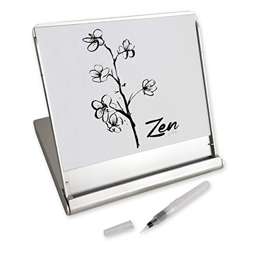Zen Artist Board, Fusion, Paint with Water Relaxation Meditation Art, Relieve Stress, Small Travel Size Magic Drawing Watercolor with Brush (Bamboo Drawing Board)