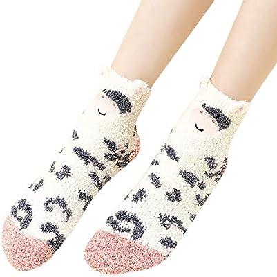 LILICAT Calcetines de Navidad Mujeres Hombres Unisex Soft Fluffy Cozy Socks Cartoon Calcetines de Terciopelo Coral Calcetines de Felpa cálida: Amazon.es: ...