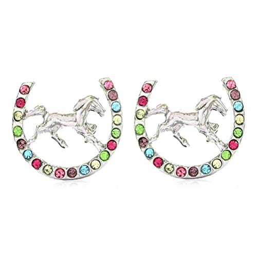 Lucky Charm Horseshoe Horse Mustang Pony Stud Post Earrings Rhinestones Fashion Jewelry (Multi-Color)