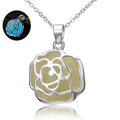 Luminous Rose Pendant Necklace Fairy Charm Steampunk Magical Glow Dark Jewelry Gift Women Girls