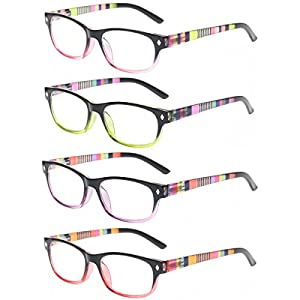 Reading Glasses 4 Pairs Stylish Men and Women Readers Spring Hinge Color Eyeglasses (1.25, 4 Pack Mix Color)