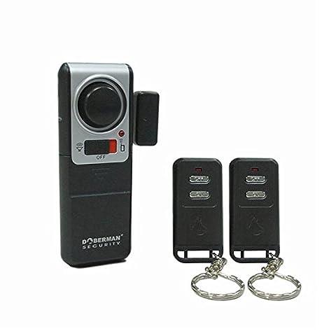 Doberman Security SE-0119A Wireless Door Alarm with 2 Remote Controls (Silver/Black) (Doberman Door Alarm With Remote)
