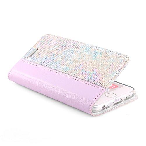 SURAZO Snake Sparkle - Premium Vintage Ledertasche Schutzhülle Wallet Case aus Echtesleder Pastelleder mit Kreditkarten/Notizen Fachern Farbe Pink Pastel Kollektion für Sony Xperia XA (5,00 Zoll)