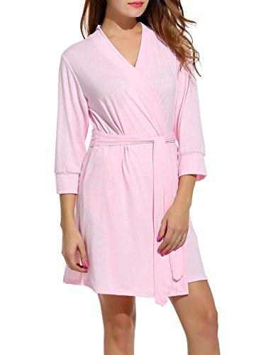 - Hotouch Women's Knee Length Waffle Weave Kimono Robe for Bathrobe Light Pink M