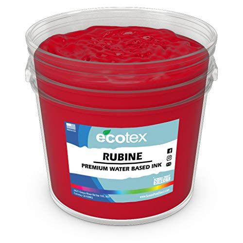 Ecotex RUBINE RED Water Based Discharge Ink for Screen Printing - Non Phthalate Formula for Fabric/Textiles - Pint-16 oz.