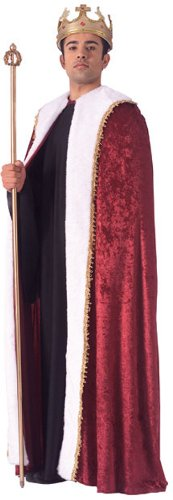 King Adult Crown - Rubie's Costume Burgundy Velvet King's Cape, Burgundy, One Size